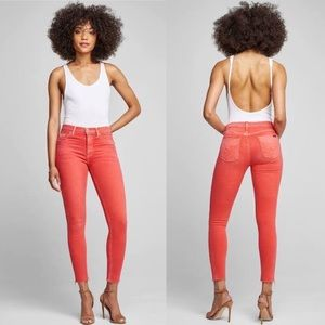 Hudson Barbara High Waist Skinny Jeans Faded Red